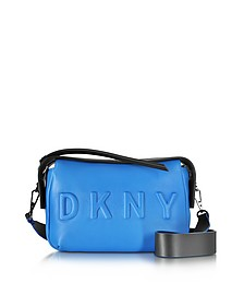 Debossed Logo Cerulean/Black Leather Crossbody Bag - DKNY
