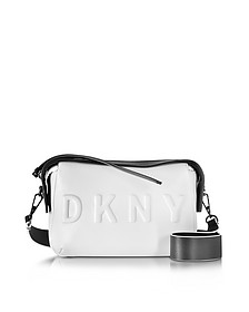 Debossed Logo Cream/Black Leather Crossbody Bag - DKNY