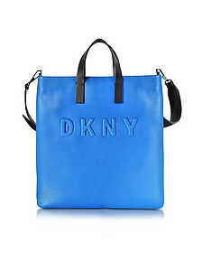 Debossed Logo Cerulean/Black Leather Tote - DKNY