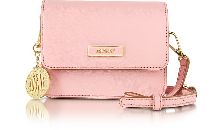 Bryant Park Mini Pink Saffiano Leather Crossbody Bag - DKNY