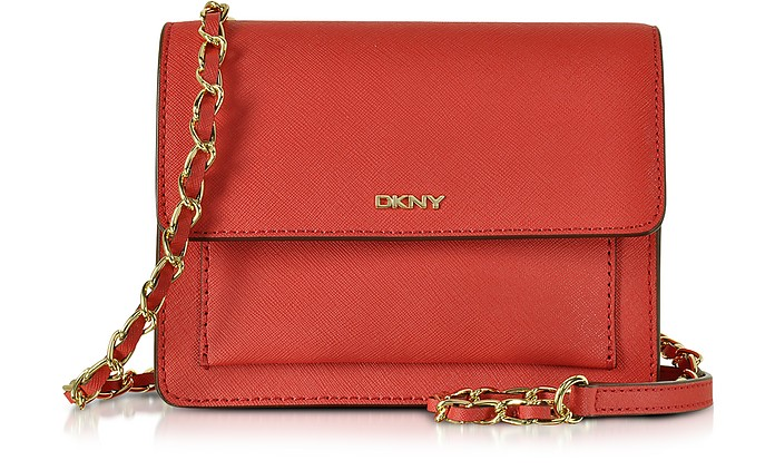 Saffiano Leather Mini Flap Crossbody Bag - DKNY