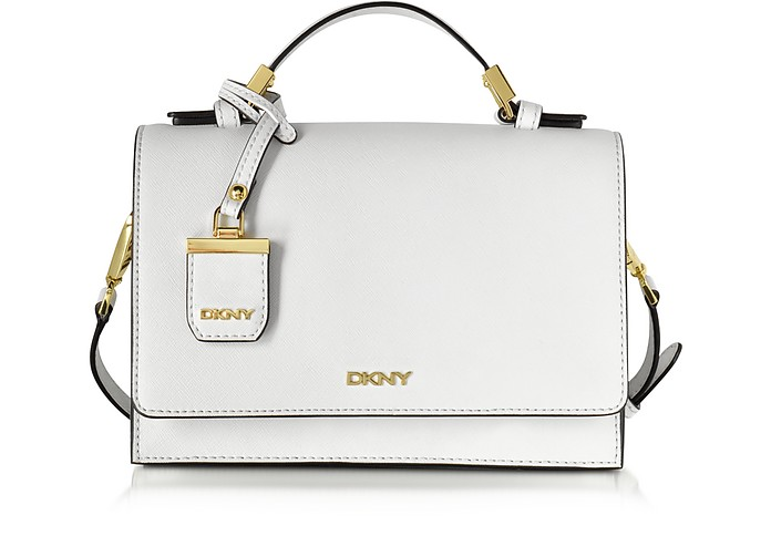 White Saffiano Leather Flap Crossbody Bag - DKNY