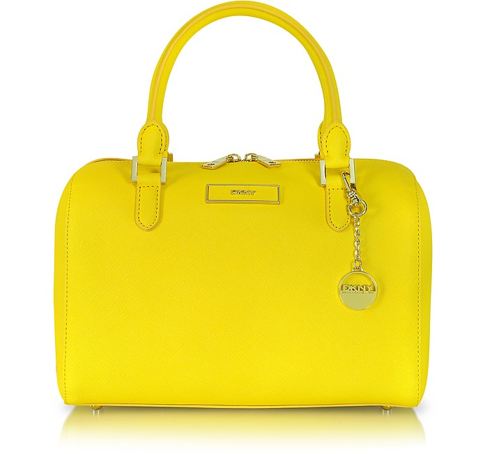 Medium Saffiano Leather Satchel - DKNY