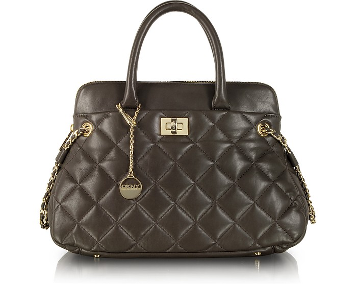 Gansevoort Khaki Quilted Leather Round E/W Satchel - DKNY