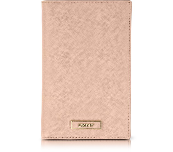 Powder Pink Saffiano Leather Wallet/Passport Holder - DKNY