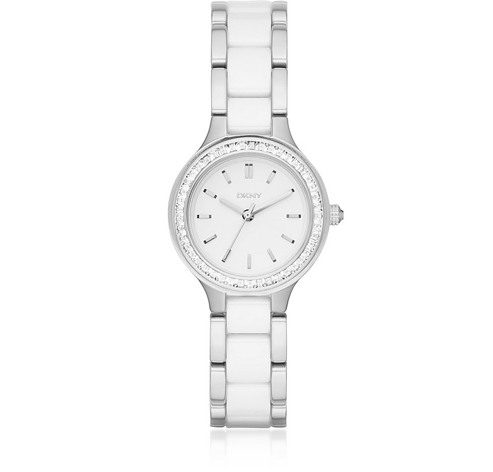 Chambers Silver and White Ceramic Women's Watch - DKNY