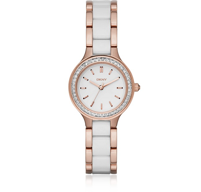 Chambers Rose and White Ceramic Women's Watch - DKNY