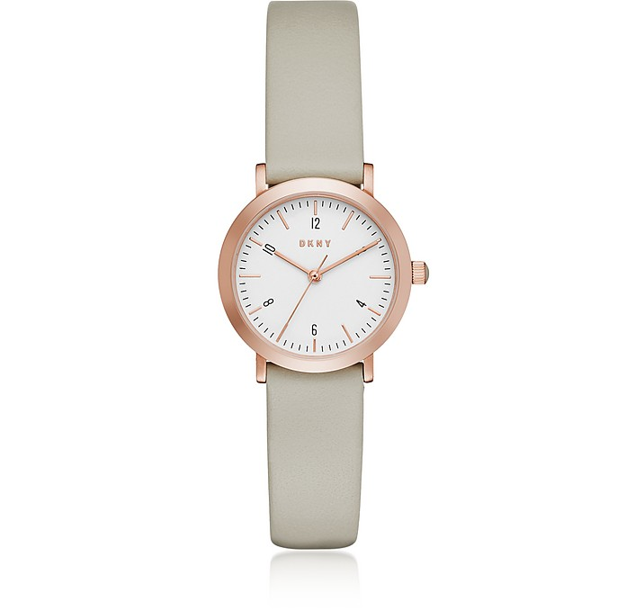 Minetta 28mm Rose Gold Tone and Grey Leather Women's Watch - DKNY