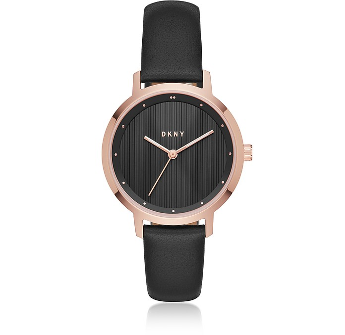 The Modernist Rose Gold Tone and Black Leather Women's Watch - DKNY