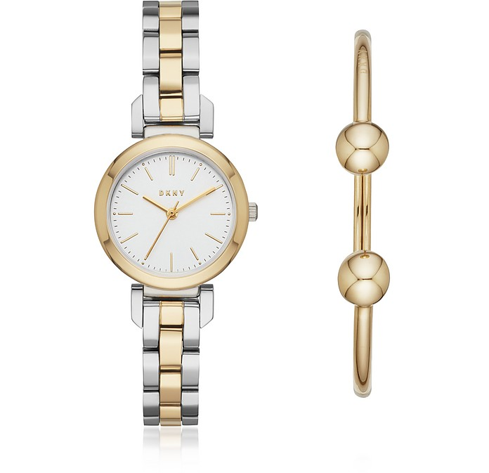 Ellington Two Tone Women's Watch and Bracelet Box Set - DKNY