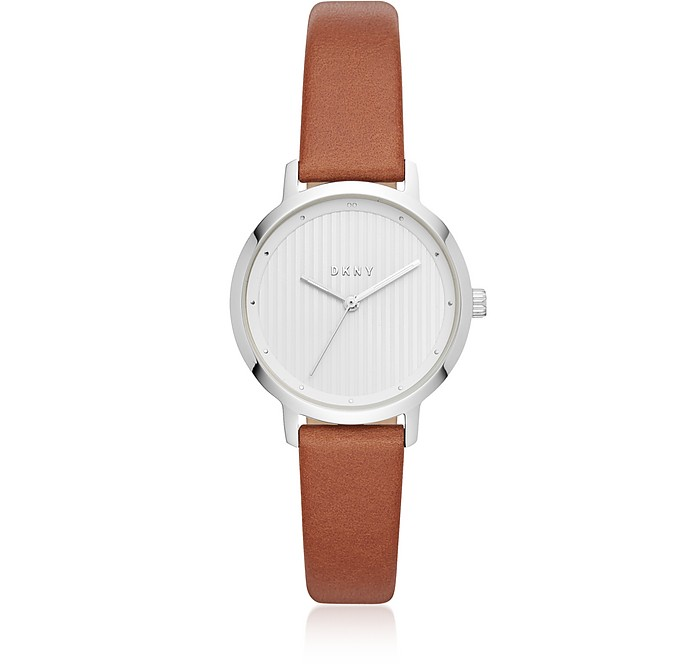 The Modernist Silver Tone and Brown Leather Women's Watch - DKNY