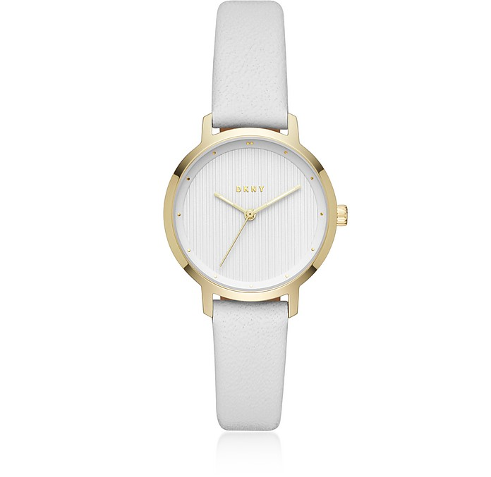 The Modernist Gold Tone and White Leather Women's Watch  - DKNY