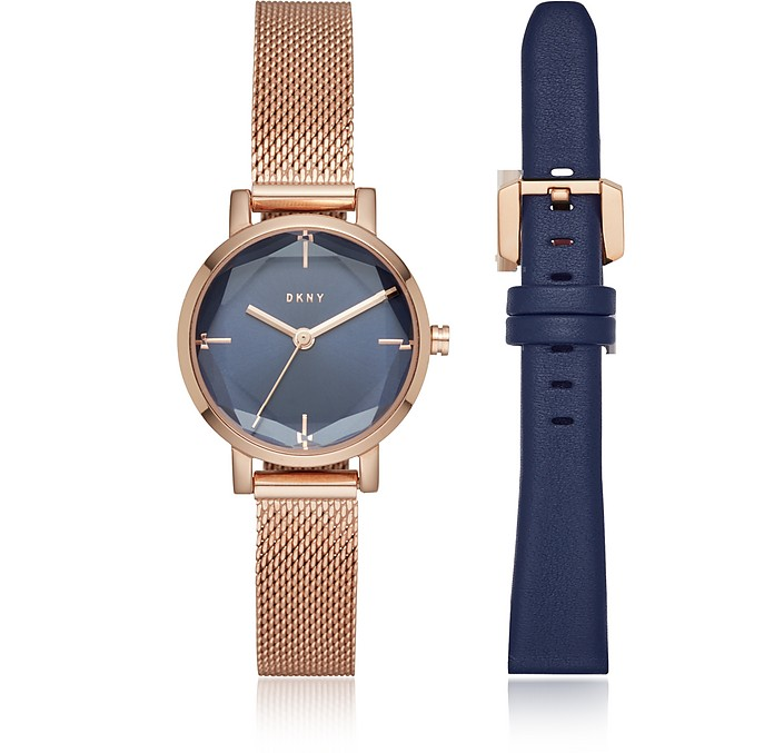 Soho Rose Gold Mesh and Blue Leather Watch Set - DKNY