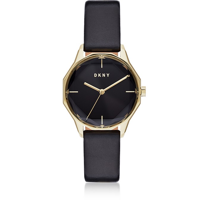 Cityspire Round Black Leather Watch - DKNY