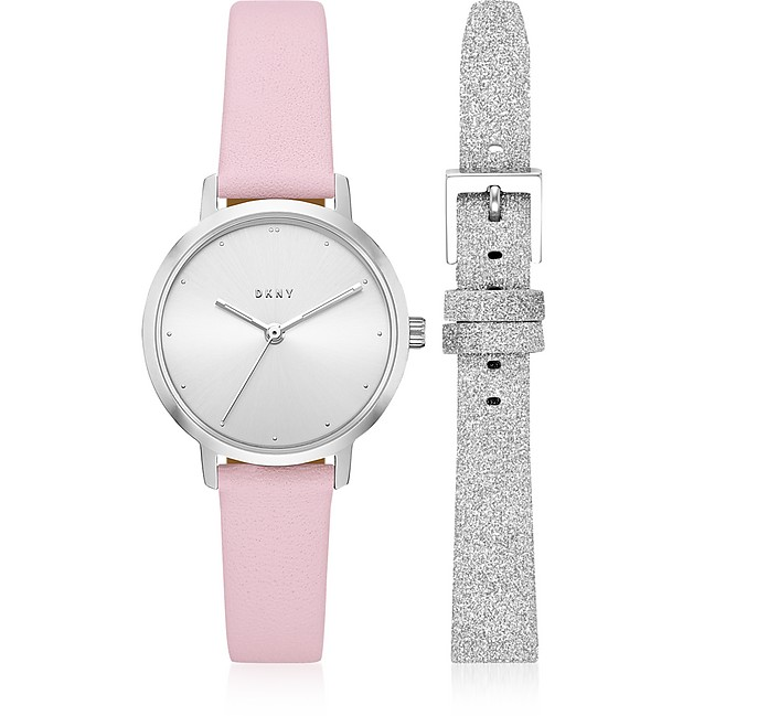 The Modernist Silver Tone Leather Watch Set - DKNY
