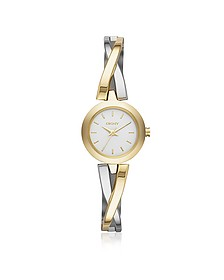 Crosswalk Round Dial Two Tone Stainless Steel Women's Watch - DKNY