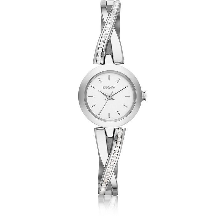 Crosswalk Round Dial Silver Tone Stainless Steel Women's Watch - DKNY