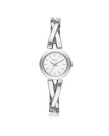 Crosswalk Round Dial Silver Tone Stainless Steel Women's Watch - DKNY