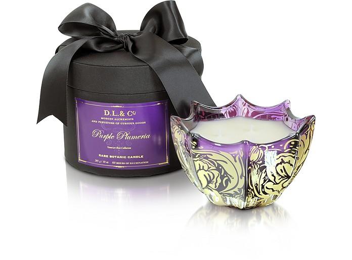 Purple Plumeria Venetian Rose Print Candle - DL & Co