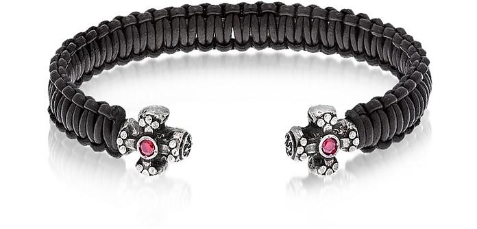 Leather Black Bracelet w/Crystals - Be Unique