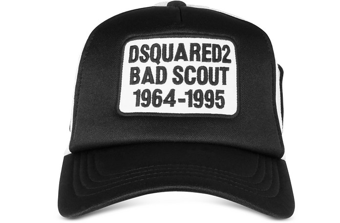 6fc4d26e5c3351 DSquared2 Black and White Bad Scout Baseball Cap at FORZIERI
