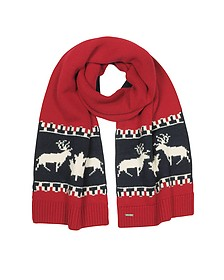 Nordic Deers Burgundy and Navy Blue Wool Blend Knit Scarf - DSquared