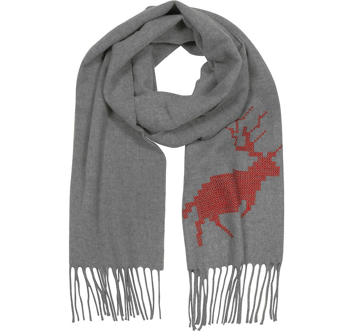Canada Hiking Gray Wool and Cashmere Men's Long Scarf w/Fringes - DSquared2 / ディースクエアード2