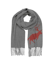 Canada Hiking Gray Wool and Cashmere Men's Long Scarf w/Fringes - DSquared2