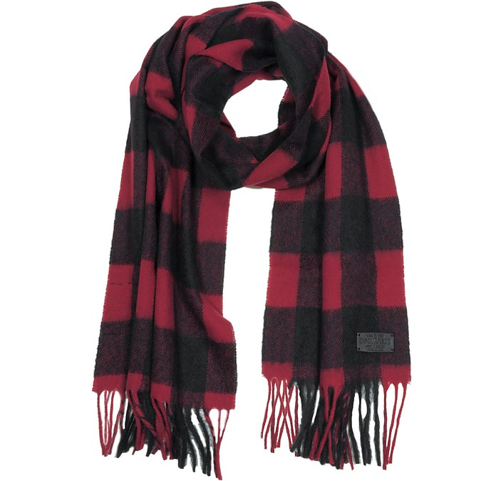 Black and Burgundy Checked Wool Blend Men's Scarf w/Fringes - DSquared2