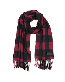 Black and Burgundy Checked Wool Blend Men's Scarf w/Fringes - DSquared
