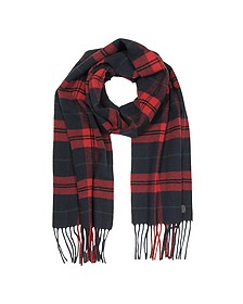 Red/Navy Blue Checked Wool and Cashmere Men's Scarf w/Fringes - DSquared
