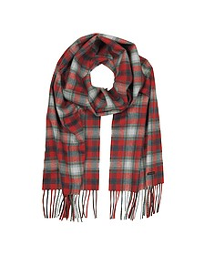Red Checked Wool Blend Men's Scarf w/Fringes - DSquared
