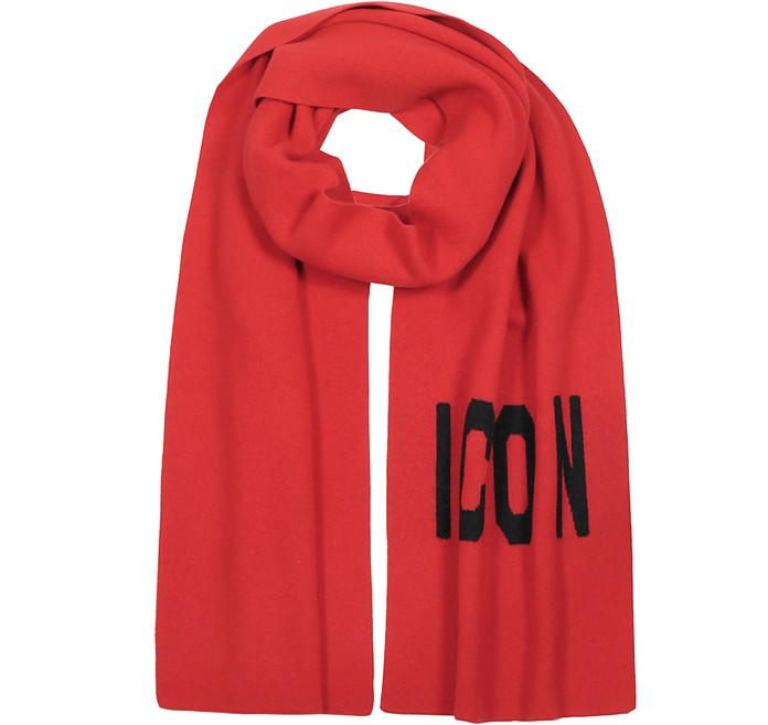 Woven Icon Logo Wool Knit Scarf - DSquared2
