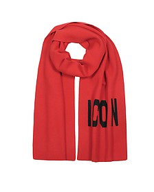 Woven Icon Logo Wool Knit Scarf