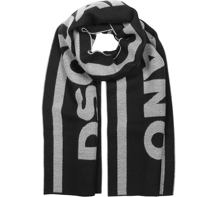 Signature Black and White Wool Blend Scarf - DSquared2