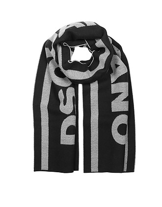 0d41ebb691 DSquared2. Signature Black and White Wool Blend Scarf…