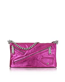 Babe Wire Fuchsia Laminated Nappa Leather Foldable Clutch - DSquared2