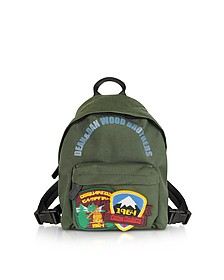 Military Green Nylon Small Backpack w/Patches - DSquared2