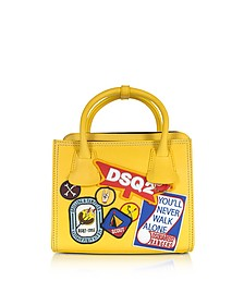 Deana Small Yellow Leather Satchel w/Patches - DSquared2