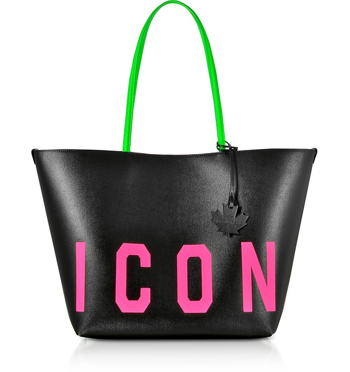 Saffiano Leather Acid Glam Punk Icon Tote Bag - DSquared2