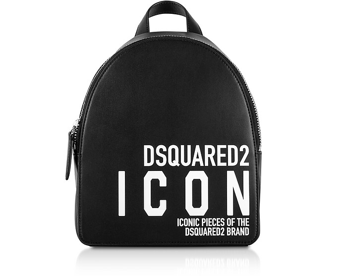 New Icon Black Calf Leather Backpack - DSquared2
