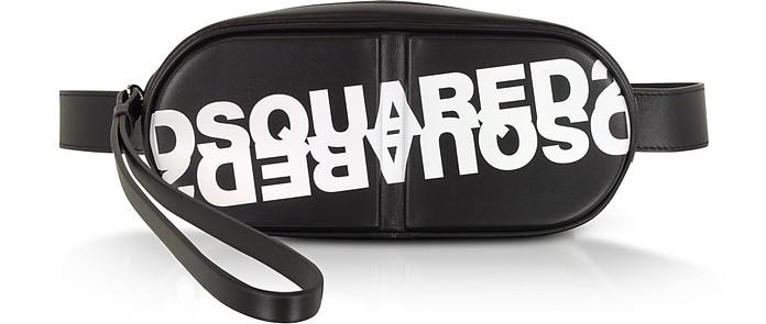 Dsquared2 Printed Black Calf Leather Pill Belt Bag - DSquared2