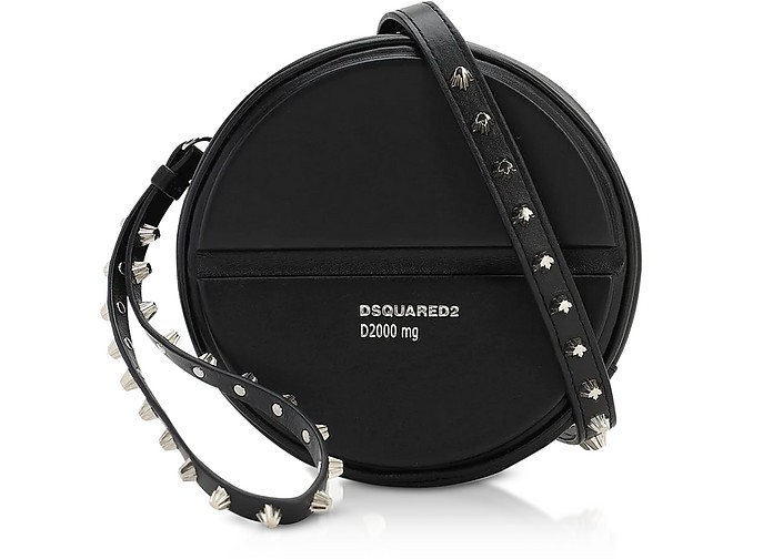 Black Studded Round Pill Calf Leather Crossbody Bag - DSquared2 / ディースクエアード2