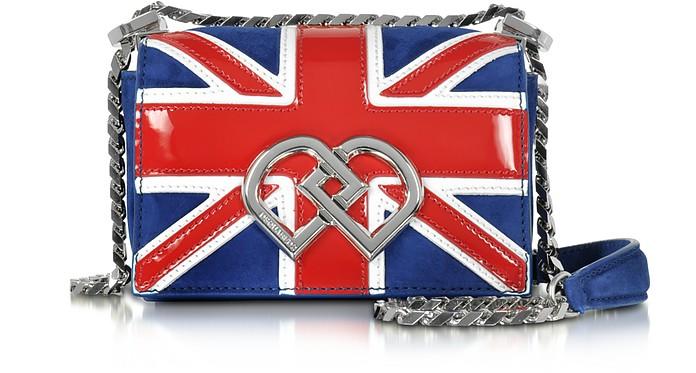DD British Flag Suede & Patent Leather Mini Shoulder Bag - DSquared2