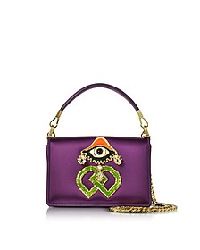 Purple Satin and Suede Shoulder Bag - DSquared2
