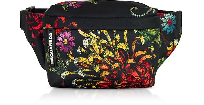 Women's Multicolor Flowers Printed Satin Mini Belt Bag - DSquared2