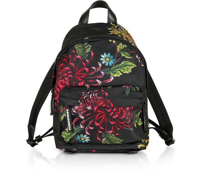 Women's Multicolor Flowers Printed Satin Mini Backpack - DSquared2