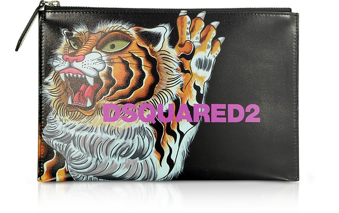 Women's Tiger Printed Black Calf Leather Pouch - DSquared2 / ディースクエアード2