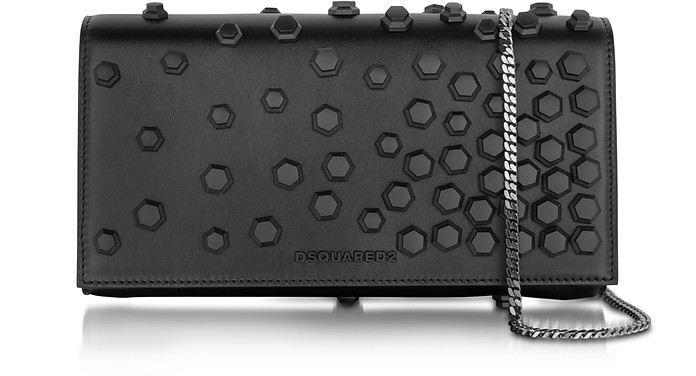 Black Studded Leather Clutch - DSquared2