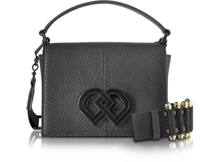 Black Leather and Ayers Medium Shoulder Bag - DSquared2
